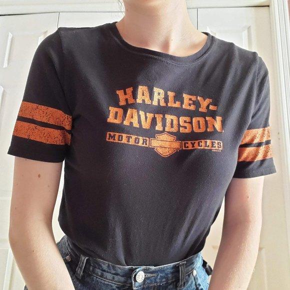 Harley-Davidson short-sleeved striped tee-shirt